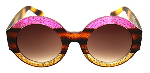 Edge-I-Wear Oversized Round Oval Sunglasses Women Multi Tinted Glitter Frame w/Gradient - For Of Glasses Shape Face Best Oval
