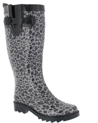 Capelli New York Shiny Baby Leopard Printed Ladies Tall Sporty Rubber Rain Boot Grey Combo 8