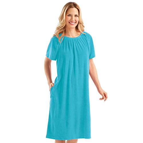 Women's Solid Color Comfort Fit Short Sleeve Terry Dress - Summer Outfit for Around Town or Home, Turquoise, ()