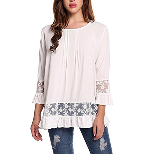 weatshirt Kangma Women Summer 3/4 Flare Sleeve Scoop Neck Lace Tops Shirt Blouse White (Long Linen Pullover)