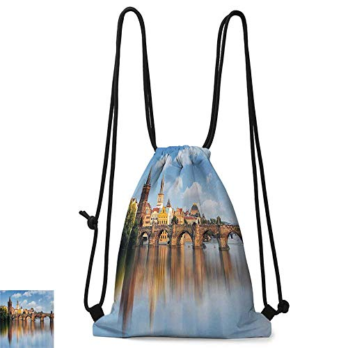 Drawstring backpack Wanderlust Decor Collection Charles Bridge in Prague Czech Republic Reflection on River Towers Forest Landmark Scenery W14