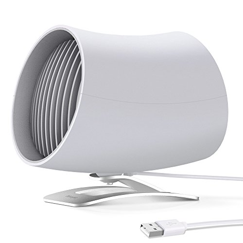 Aikoper Desk Fan, USB Small Table Personal Electric Fan with Twin Turbo, 2 Speeds and Unique Design for Office, Home (White)