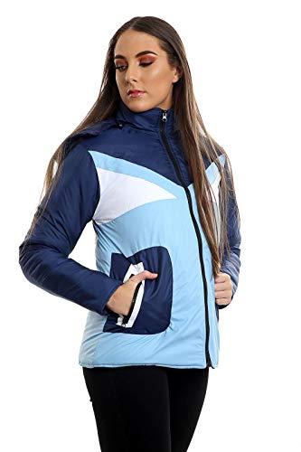 Janisramone Manga Mujer Abrigo Sky Para Larga Navy Blue 81F8zrqwn