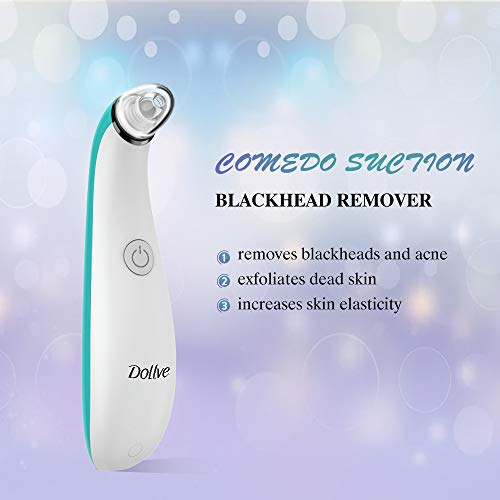 Blackhead Remover Electric Facial Pore Cleaner with 4 Changeable Functional Probes Rechargeable Blackhead Suction Extractor Tool for men women Blue