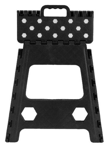 Folding Step Stool 15 Inch With Anti Slip Dots Black
