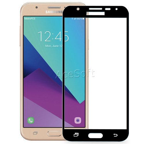 High Definition 9H Hardness Shockproof Tempered Glass Screen Protector Guard Shield Saver Armor Cover [Easy to Install] for Samsung Galaxy J7 Perx SM-J727P Android phone by SodaPop