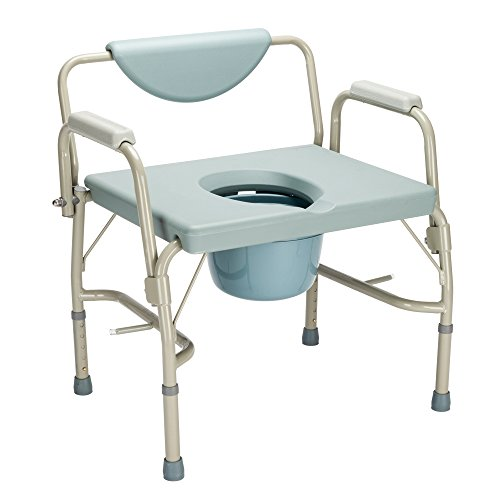 Mefeir 550 lbs Heavy Duty Drop Arm Medical Bedside Commode Chair, FDA Approved Homecare Toilet Seat with Safety Steel Frame, 6 Quart Capacity Pail, Adjustable Height Support Tool-Free Easy Assembly ()