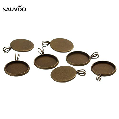 Pendant Trays - 10pcs Silver Color Round Pendant Setting Cabochon Blank Tray Bezel 10mm 12mm 14mm 16mm 18mm 20mm for DIY Jewelry Making Findings