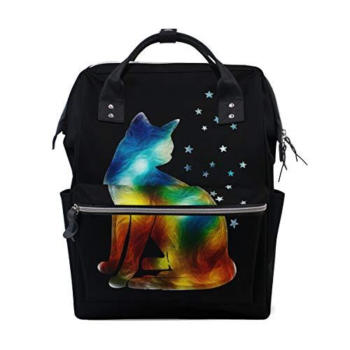 - Galaxy Cat Star School Backpack Bookbag Travel Shoulder Stylish Large Capacity Diaper Bags