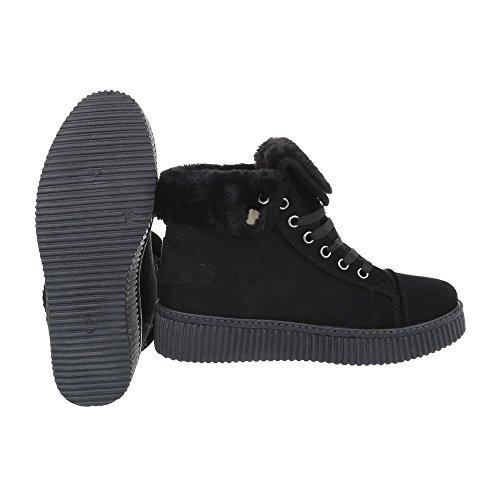 Schuhcity24 Damen Schuhe Freizeitschuhe Warm Gefütterte Snekers Schwarz