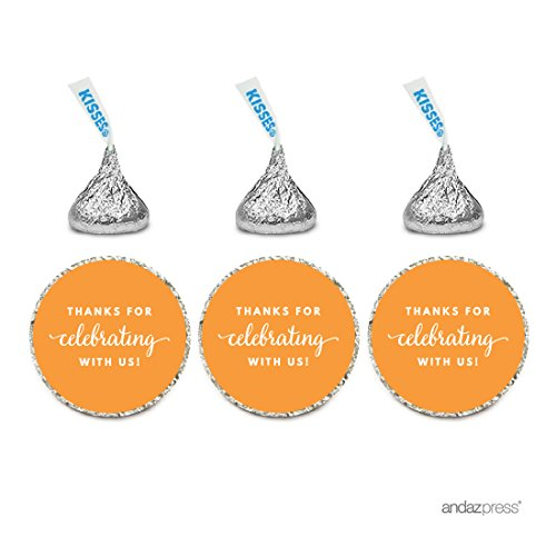 Andaz Press Chocolate Drop Labels Trio, Fits Hershey's Kisses Party Favors, Thanks for Celebrating with Us, Orange, -