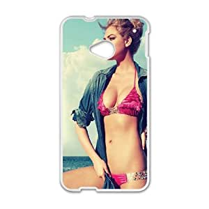 HTC One M7 Cell Phone Case White Kate Upton Swim Suit Sea Girl Face Xybdo