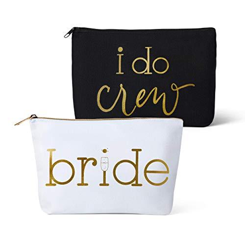 Canvas Makeup Bags for Bachelorette Parties, Weddings and Bridal Showers! (11 Piece Set, Black - I Do Crew)