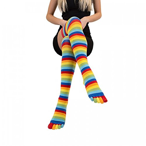 High Fashion Over Striped Rainbow Toe Socks Knee Thigh TOETOE dPI7wIq