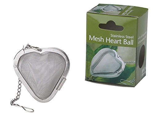 HIC Heart Shaped Loose Tea Leaf Strainer and Herbal Infuser, 18/8 Stainless Steel, Mesh Tea Ball, 2.5-Inch (Infuser Tea Shaped)