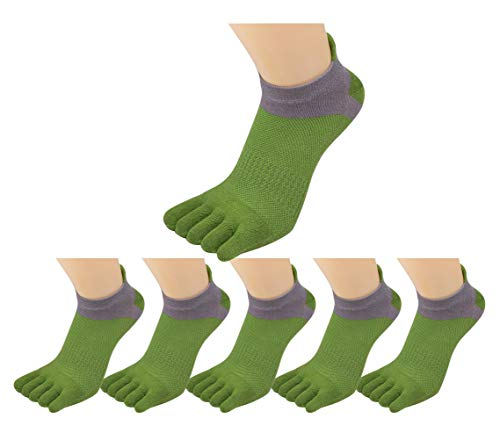 Men Cotton Athletic Toe Socks 5 Finger Low Cut No Show Mesh Wicking 6 - Green 13 Cut