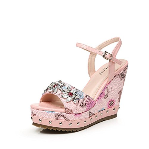 Wedge Bottom Rhinestones Thick Heel Summer Shoes BaiLing Waterproof Sandals Pink Women's Small Printing IqRzT