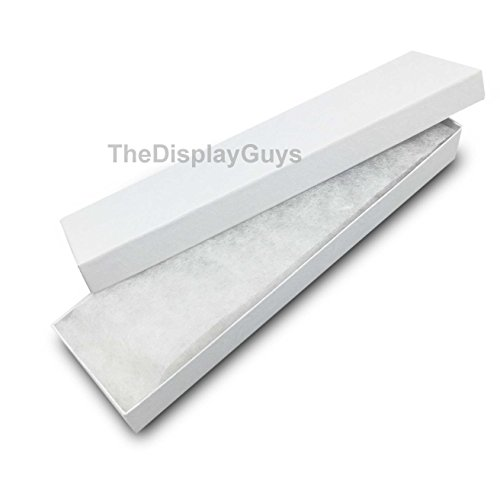 The Display Guys, Pack of 25 White 8x2x1 inches Cotton Filled Paper Jewelry Box Gift Display Case(#82) (Boxes Christmas Wholesale Gift)