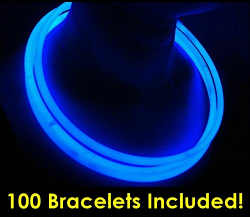 """Glow Sticks Bulk Wholesale Necklaces, 100 22"""" Blue Glow Stick Necklaces +100 FREE Assorted Glow Bracelets! Bright Color, Glow 8-12 Hrs, Connector Pre-attached, Sturdy Packaging, GlowWithUs Brand"""