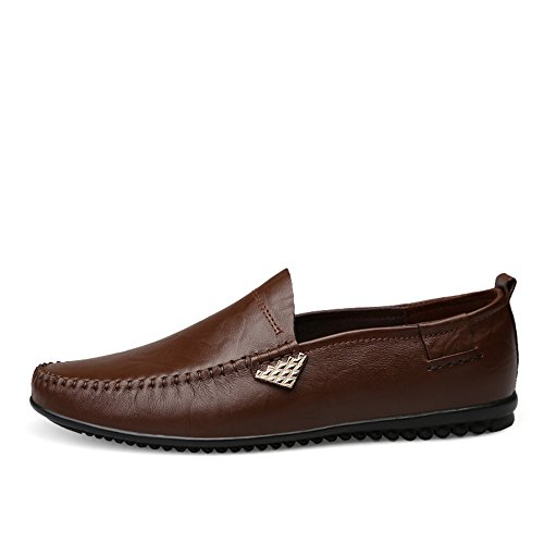 guida Xiazhi shoes pelle scarpe 2018 da on uomo in traspirante Marrone Scuro 8 Darkbrown casual vera mocassini scarpe Maschio slip rgx6wqdnr