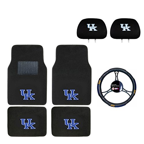 MULTI_B University of Kentucky Head Rest Cover,Floor mat and Wheel Cover. You get 2 headrest Covers 4 Floor Mat and 1 Wheel Cover in This Gift Set. Perfect to University of Kentucky Wildcats Fan