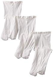 Jefferies Socks Baby-Girls Newborn Smooth Skin Tights 3 Pair Pack, White, 0-6 Months