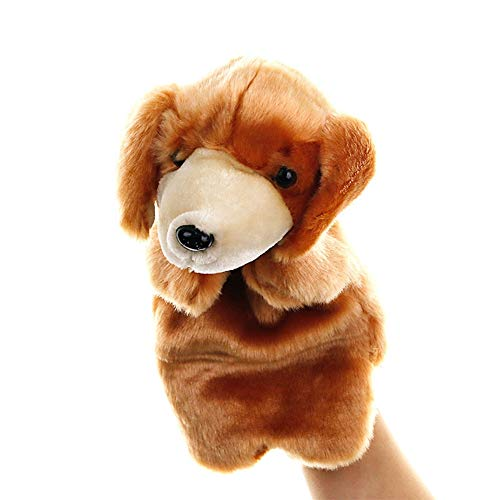 MaitianGuyou Animal Dog Hand Puppets Soft Plush Hand Puppets for Kids- Perfect for Storytelling, Teaching, Preschool, Role-Play Toy Puppets(Yellow) ()