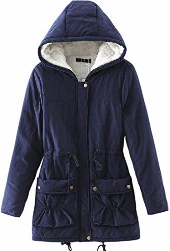 FLCH+YIGE Women's Thick Fleece Lined Hoodies Stylish Outwear Warm Parka Coat Navy Blue L