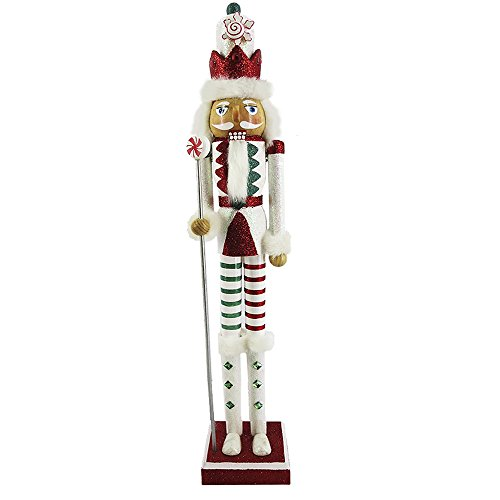 Christmas Nutcracker Figure Fun Candy Cane Design in Red, Green , and White With Sparkle Rhinestones
