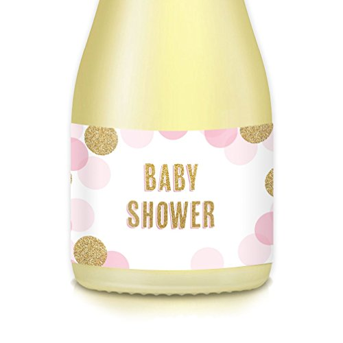 """BABY SHOWER MINI CHAMPAGNE or MINI WINE BOTTLE LABELS Baby Sprinkle with Love Little Girl, 20 Count Pink & Gold Bubbly 3.5"""" x 1.75"""" Stickers Celebrate New Mom Daughter, Gift Bags, Table Favor Decals"""