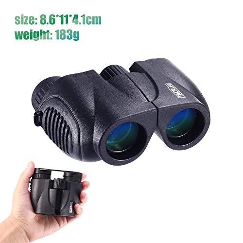 Binoculars, Compact Folding Telescope 10 x 22 with Dust Proof for Kids, Concert, Bird Watching, Traveling, Hand Strap and Carrying Bag Included - MBC03
