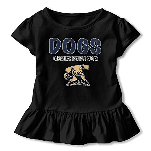 Toddler Girls Comfy Short Sleeve T-Shirt Dogs Because People Suck Baby Girls Lotus Leaf Edge Kid Outfits 2T ()