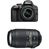 Nikon D3300 DX-format DSLR Kit w/ 18-55mm and 55-300mm Lenses (Black)