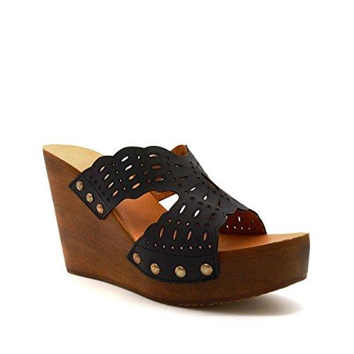 compensée Noir Semelle Footwear London Noir femme AaE4nxq