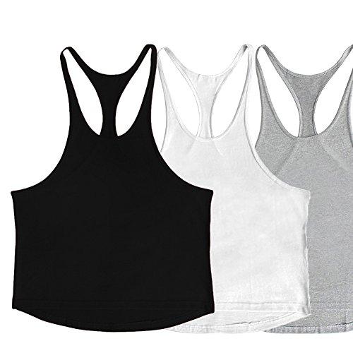 53667ed96b631 ZUEVI Men s Muscular Cut Bodybuilding Gym Vest Y-Back Tank Top Pack of  3(Black White Gray-L)
