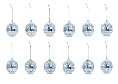 Cyfellbiu 12 2-inch Mirror Balls - Disco Ball Decoration - Christmas Tree Wedding Birthday Party Decoration Mirror Ball (Silver)