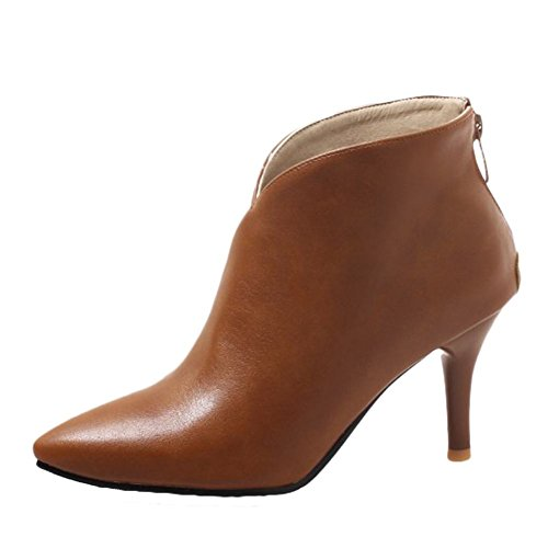 Carolbar Women's Pointed Toe Sexy Retro Evening Party Stiletto High Heel Ankle Boots (7.5, Yellow-Brown)