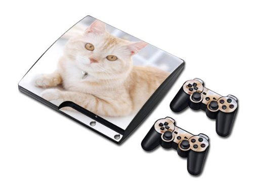 Vinyl Decal Skin/stickers Wrap for Ps3 Slim Play Station 3 Console and 2 Controllers-lovely Cat