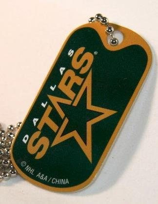 NHL DALLAS STARS DOG TAG NECKLACE ( 1 PC ) LICENSED , COMPLETE WITH BALL CHAIN. ( Ball Chain 24 Inch Long)