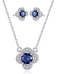 Sapphire Sterling Silver Clover Jewelry Set Necklace and...