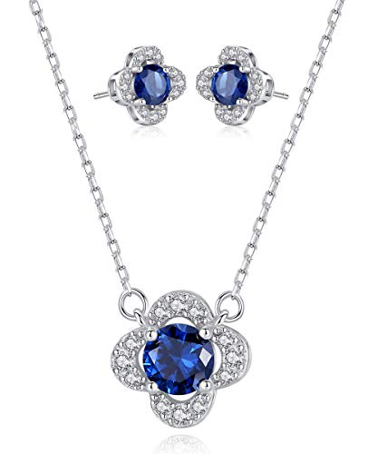 (Sapphire Sterling Silver Clover Jewelry Set Necklace and Earrings September Birthstone Fine Jewelry for Women)