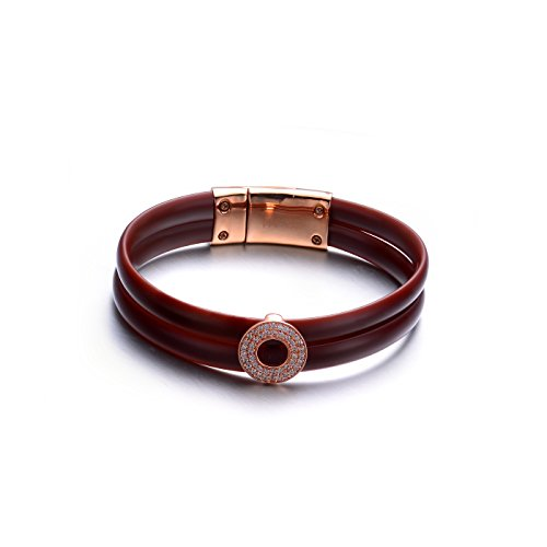 cz-sterling-silver-rose-plated-brown-rubber-bracelet