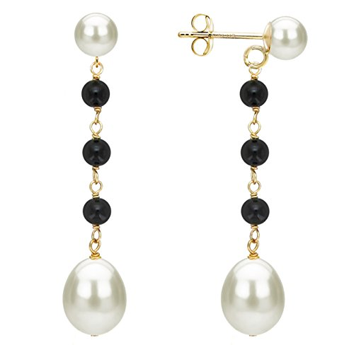 14K Yellow Gold 4mm Simulated Onyx 7-7.5mm Dangle Freshwater Cultured White Pearl Stud Earrings 10-10.5mm