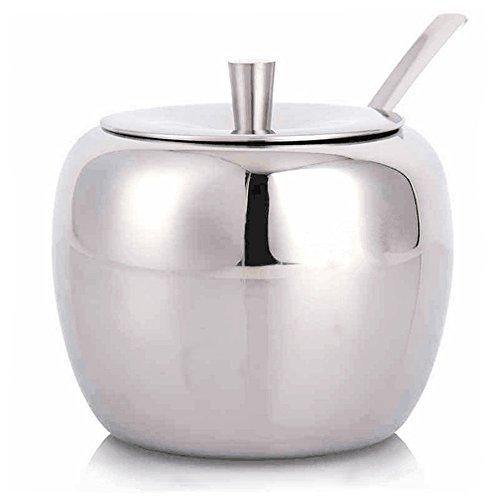 (Sugar Bowl, Sugar Dispenser, Seasoning Bowl, Spices Bowl, Stainless Steel Sugar Bowl with Lid and Sugar Spoon, Apple Shape (500 Milliliter))