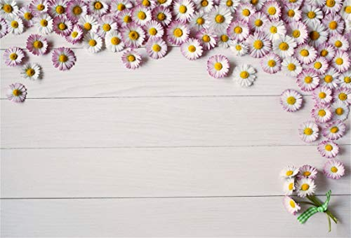 Leyiyi 9x6ft Spring Flowers on Wooden Board Backdrop Daisy Flower Blossom Banner Rough Texture Blank Background Floral Bouquet Bridal Shower Kids Birthday Adults Portrait Studio Prop Vinyl ()