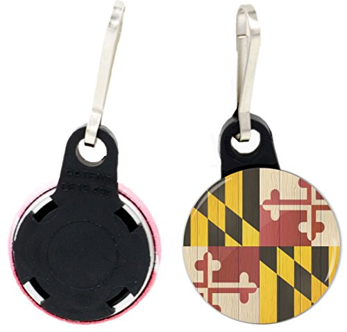 Rikki Knight Maryland Flag on Distressed Wood Design 1 inch Zipper Pull Button (set of 4) - Flag Zipper Pull