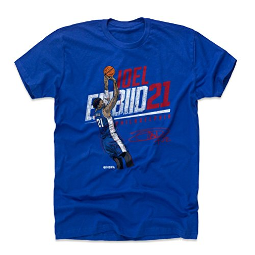 500 LEVEL Joel Embiid Cotton Shirt Medium Royal Blue - Vintage Philadelphia Basketball Men's Apparel - Joel Embiid Slant R WHT