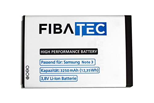 FIBAtec I Ersatzakku POWER-AKKU Samsung Note 3 Akku, Lithium-ionen Batterie, Ersatzbatterie, Zweit-akku, Li- Ion Akkumulator I Zubehör Samsung Galaxy, Handy Ersatzteile, High Performance Battery, Accu,
