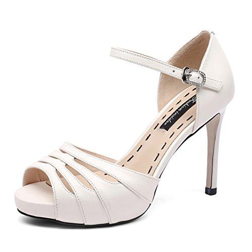 NVXIE Femmes Talons Hauts Sandales Cheville Strap Bout Ouvert Plate-Forme Été Sandales Noir Partie Weding Soirée white