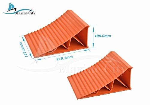 Marine City Tire up to 20 Inches Orange Wheel Chocks (8-5/8 Inches × 5 Inches × 4-1/4 Inches) (2 Per Pack)
